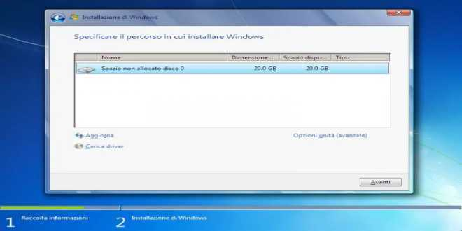 Specificare il percorso in cui installare Windows 7