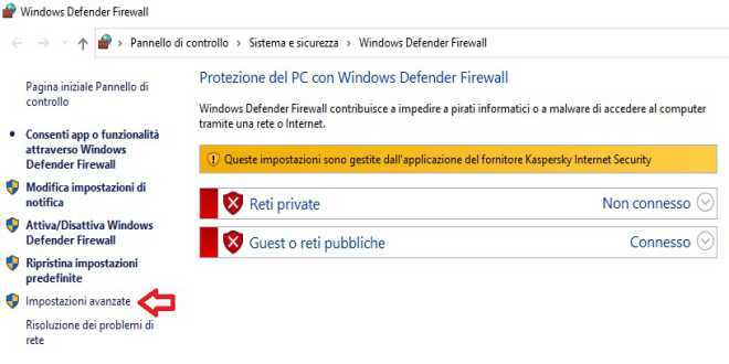 Blocco Windows Defender Firewall 1